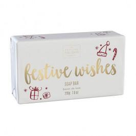 SCOTTISH FINE SOAPS Vánoční tuhé mýdlo Festive Wishes 220g, červená barva, bílá barva, zlatá barva