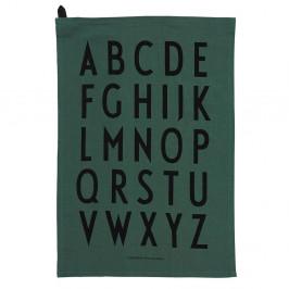 DESIGN LETTERS Designová bavlněná utěrka Green set 2 ks, zelená barva, černá barva, textil