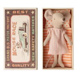 Maileg Myška v krabičce od sirek Big sister, oranžová barva, béžová barva, papír, textil