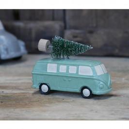 Chic Antique Adventní dekorace Green Hippie Van With Tree, zelená barva, plast