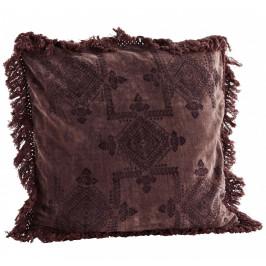 MADAM STOLTZ Bavlněný povlak na polštář Velvet Plum 50 x 50 cm, fialová barva, textil