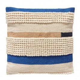 Hübsch Bavlněný polštář Summer Days 50 x 50 cm, modrá barva, multi barva, textil