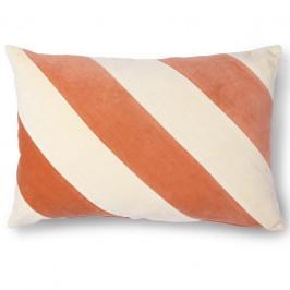 HK living Bavlněný polštář Velvet Peach & Cream, oranžová barva, krémová barva, textil