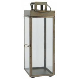 IB LAURSEN Kovová lucerna Square Brass, zlatá barva, čirá barva, sklo, kov