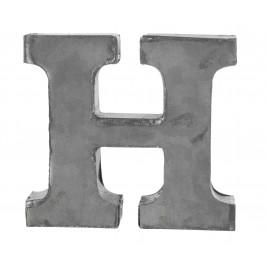 MADAM STOLTZ Kovové písmeno H, 6 cm, šedá barva