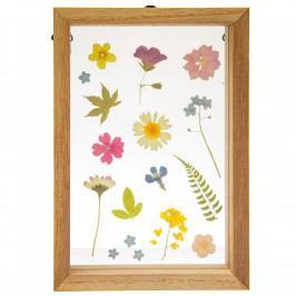 sass & belle Dřevěný rámeček Pressed Floating Flowers, přírodní barva, sklo, dřevo