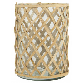 IB LAURSEN Skleněný svícen Bamboo Braid, čirá barva, přírodní barva, sklo