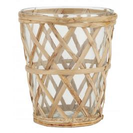 IB LAURSEN Skleněný svícen Bamboo Braid Mini, čirá barva, přírodní barva, sklo, dřevo