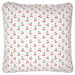 GREEN GATE Bavlněný povlak na polštář Cherie White 50x50, červená barva, zelená barva, bílá barva, textil