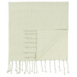IB LAURSEN Bavlněná osuška Hammam Green Stripes, zelená barva, textil