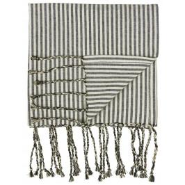 IB LAURSEN Bavlněný ručník Hammam Black Stripes, černá barva, textil