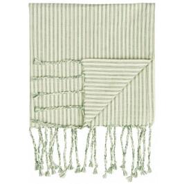 IB LAURSEN Bavlněný ručník Hammam Green Stripes, zelená barva, textil
