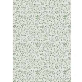 IB LAURSEN Balicí papír Leaves & Flowers – 10 m, zelená barva, bílá barva, papír