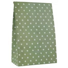 IB LAURSEN Papírový sáček Four-leaved Clovers Větší, zelená barva, bílá barva, papír