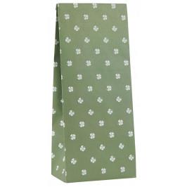 IB LAURSEN Papírový sáček Four-leaved Clovers Menší, zelená barva, bílá barva, papír