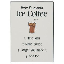 IB LAURSEN Kovová cedule Ice Coffee, béžová barva, kov