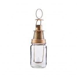 House Doctor Mosazná lucerna Fhia Antique Brass, zlatá barva, čirá barva, sklo, kov