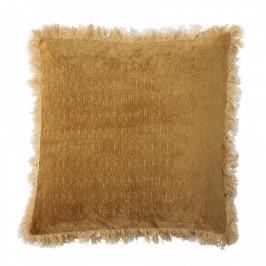 Bloomingville Polštář s výplní Yellow Fringes 45x45, zlatá barva, textil