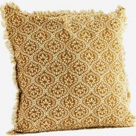 MADAM STOLTZ Bavlněný povlak na polštář Ocher Yellow, žlutá barva, textil