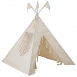 Bloomingville Dětské teepee Boho Nature, krémová barva, textil