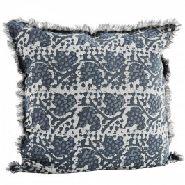 MADAM STOLTZ Bavlněný povlak na polštář Blue Fringes 60x60, šedá barva, textil