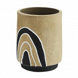 MADAM STOLTZ Váza na suché květy Terracotta Natural, černá barva, bílá barva, přírodní barva, keramika