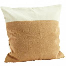 MADAM STOLTZ Bavlněný povlak na polštář Brown/White 65x65, oranžová barva, bílá barva, hnědá barva, textil