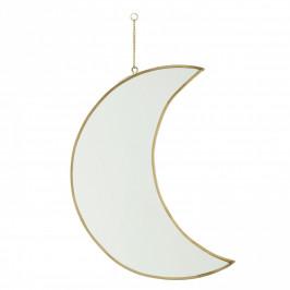 MADAM STOLTZ Závěsné zrcadlo Moon Brass, měděná barva, čirá barva, sklo, kov