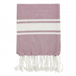 MADAM STOLTZ Bavlněná osuška Rose/White 100x180, růžová barva, bílá barva, textil