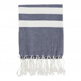 MADAM STOLTZ Bavlněná osuška Blue/White 100x180, modrá barva, bílá barva, textil