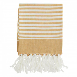 MADAM STOLTZ Bavlněná osuška Honey/White 100x180, žlutá barva, bílá barva, textil