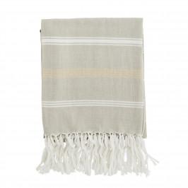 MADAM STOLTZ Bavlněná osuška Beige/Gold 100x180, béžová barva, bílá barva, zlatá barva, textil