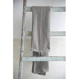 Jeanne d'Arc Living Bavlněný ručník Waffle Dark Grey 50x100cm, šedá barva, textil