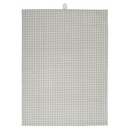 IB LAURSEN Bavlněná utěrka Grey Square 50 x 70 cm, šedá barva, krémová barva, textil