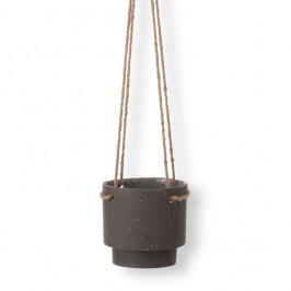 ferm LIVING Závěsný keramický obal na květináč Plant Hanger, černá barva, přírodní barva, keramika