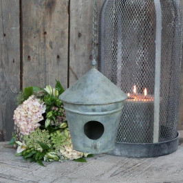 Chic Antique Dekorativní ptačí budka Zinc Round, šedá barva, kov