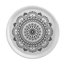 TAFELGUT Podnos Black Ornament 38cm, černá barva, bílá barva, dřevo, melamin