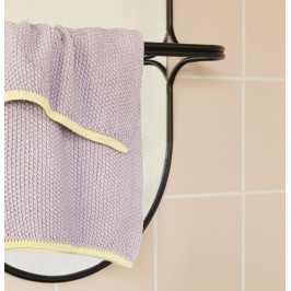Hübsch Pletený ručník Purple Yellow 40x60cm, fialová barva, žlutá barva, textil