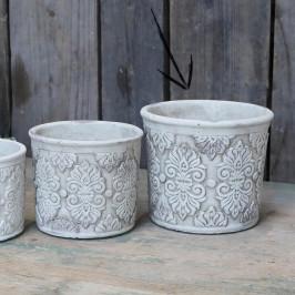 Chic Antique Obal na květiny Cement Pattern 13cm, béžová barva, krémová barva