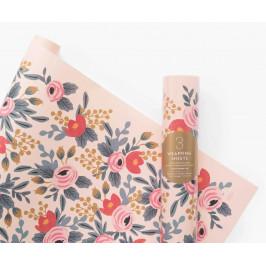 Rifle Paper Co. Balicí papír Blushing Rosa - 3 archy, růžová barva, papír