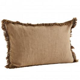 MADAM STOLTZ Lněný povlak na polštář s třásněmi Brown sugar 40x60 cm, hnědá barva, textil