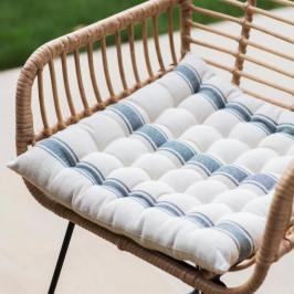 Garden Trading Sedák na židli Charcoal Stripes, černá barva, bílá barva, textil