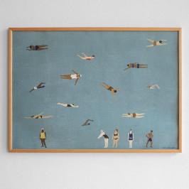 Fine Little Day Plakát Swimmers 70x50 cm, modrá barva, papír