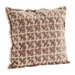 MADAM STOLTZ Bavlněný povlak na polštář Rhododendron 60x60cm, fialová barva, béžová barva, hnědá barva, textil