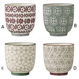 Keramický kalíšek Karine - 4 druhy Fialové květiny, multi barva, keramika