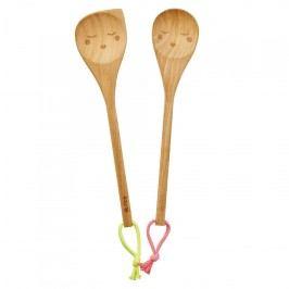 Dřevěná vařečka Smiling Face - dvě varianty S růžovým poutkem, hnědá barva, dřevo