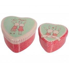 Plechová krabička ve tvaru srdce Rabbit - set, růžová barva, kov
