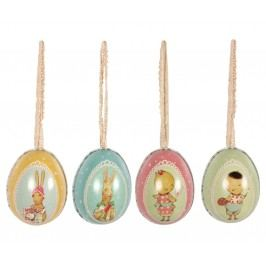 Kovové velikonoční vajíčko malé Růžová, multi barva, kov