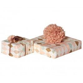 Balící papír Harlekin Rose - 10 m, růžová barva, krémová barva, papír
