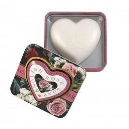 Somerset Toiletry Mýdlo v plechové krabičce English Rose, růžová barva, černá barva, kov
